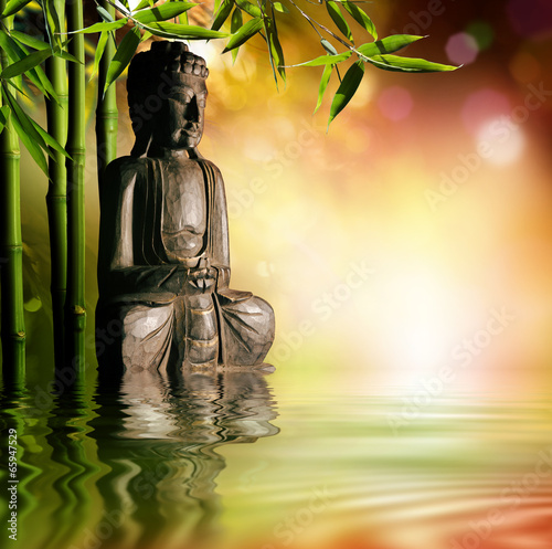 spiritual background of Asian culture with buddha Slika na platnu