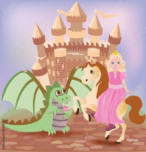 Montage in der Fensternische Pony Little princess and cute dragon, vector illustration