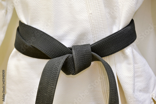 Photo  Karate Black Belt on White Uniform