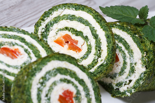 Fotografie, Obraz  Chopped spinach roulade with cream cheese macro