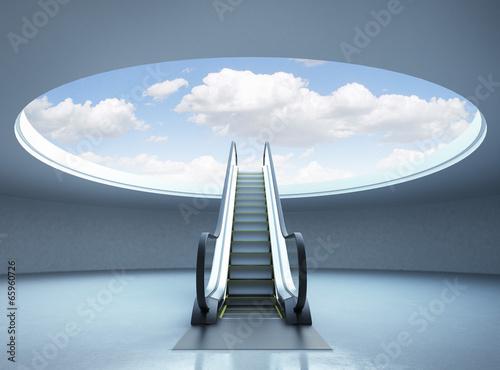 Photographie Escalator stairway to success