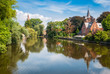 canvas print picture - Bruges, Belgium, Minnewater lake