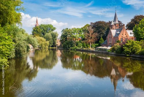 Deurstickers Brugge Bruges, Belgium, Minnewater lake