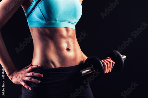 Fotografie, Tablou  Workout girl with strong abs