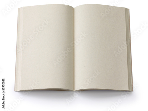 opened blank paperback isolated on white background Canvas Print