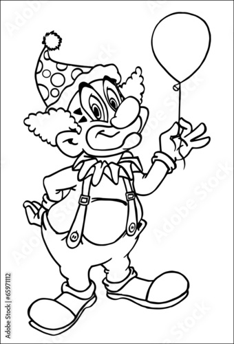 Clown Coloring Page - Buy this stock illustration and ...