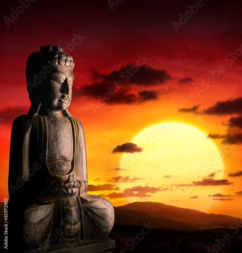 spiritual background of Asian culture with buddha Fototapeta
