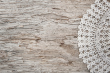 Lace Fabric On The Old Wood