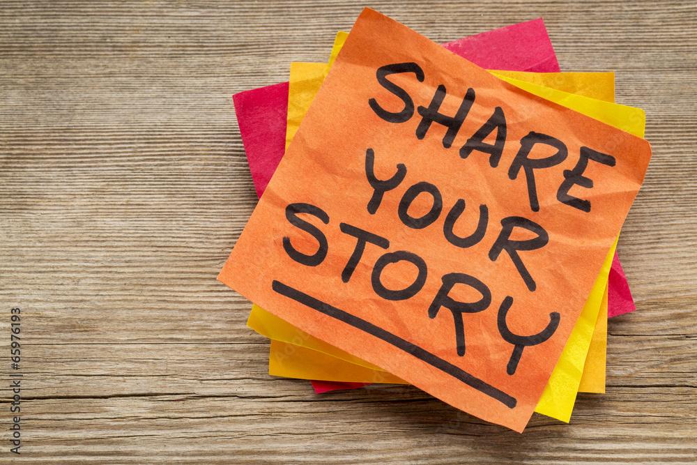 Fototapety, obrazy: share your story on sticky note