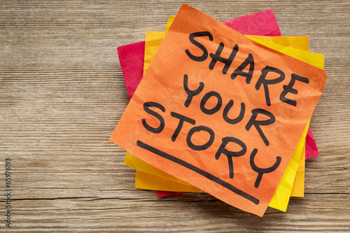 Fotografija share your story on sticky note