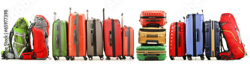 Photo Suitcases and backpacks isolated on white background