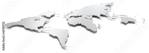 Abstract world.Angel view of thin steel world map. Hard shadow.