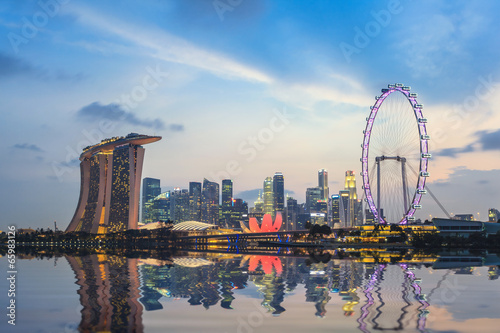Acrylic Prints Singapore Singapore city skyline at Marina Bay