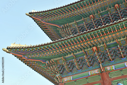 Stampe  Tile Roof Detail of Traditional Korean Temples, Seoul, Korea