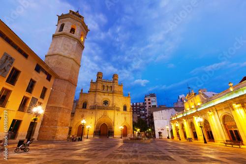 Fadri tower and Cathedral at Castellon de la Plana in night