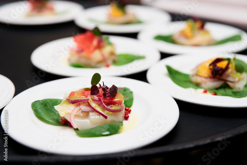 Photo Stands Ready meals Sea scallop carpaccio dishes