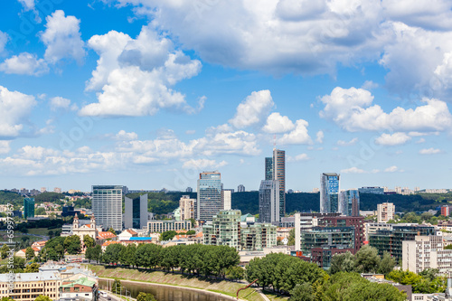Canvas Prints Kuala Lumpur Aerial View of Vilnius with Financial District