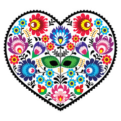 Polish folk art art heart with flowers - wzory lowickie