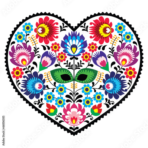 Платно Polish folk art art heart with flowers - wzory lowickie