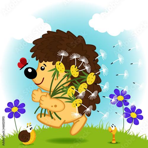 jez-z-dmuchawcami-na-polu-z-kwiatami