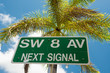 Street sign marking the 8th street in Little Havana, Miami