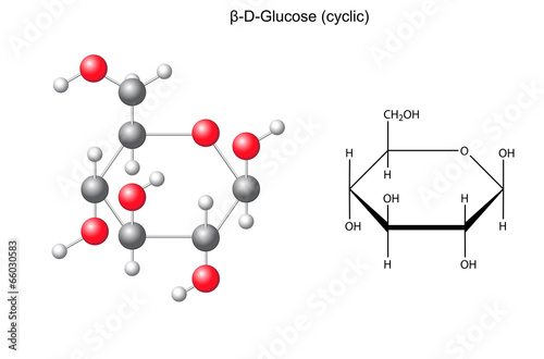 Photo Structural chemical formula and model of glucose