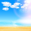Summer Background with beach, you cen easy all editable