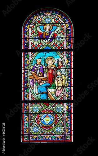 Staande foto Stained Vitraux de l'église de Saint Fiacre sur Maine - Loire Atlantique