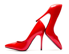 Red High Heel Shoes Isolated On White