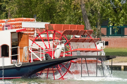 Vászonkép riverboat and paddle wheel