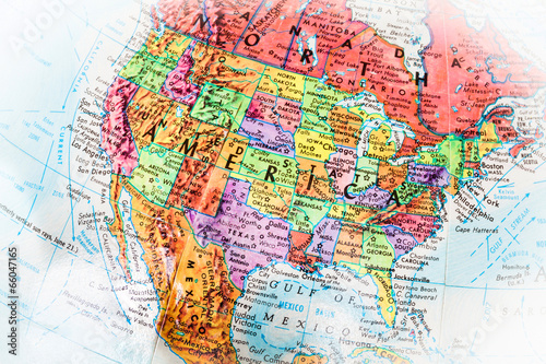 Poster de jardin Amérique du Sud United States Of American Globe Map