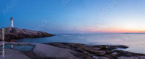 Spoed Fotobehang Aubergine Panorama of Peggys Cove's Lighthouse after Sunset (Nova Scotia,