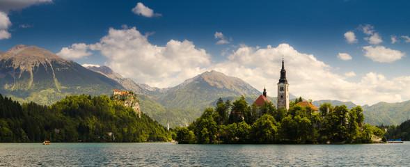 fototapeta jezioro Bled, wyspy i zamek, Słowenia