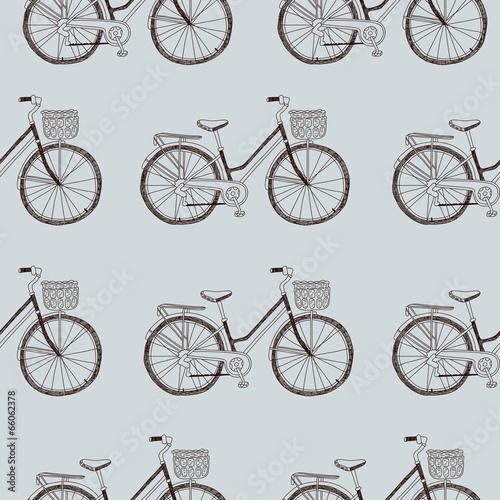 Fotobehang Kranten Vector seamless hand drawn bicycle pattern in vintage style