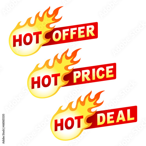 Fotografía  Hot offer, price and deal flame sticker badges