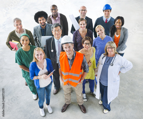 Fotografia  Group of Multiethnic Diverse People with Different Jobs
