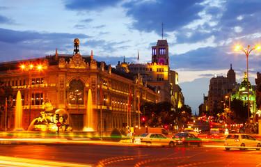 Plaza de Cibeles in evening. Madrid