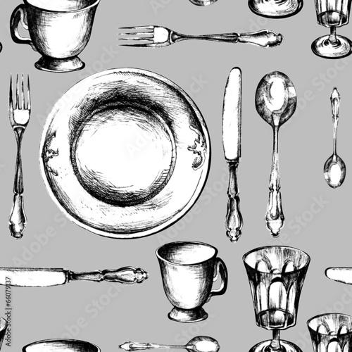 naczynia-ustawiaja-bezszwowego-wzor