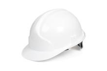 White Hard Hat Isolated On Whi...