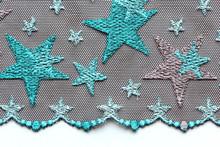 Green And Grey Stars Lace Material Texture Macro Shot
