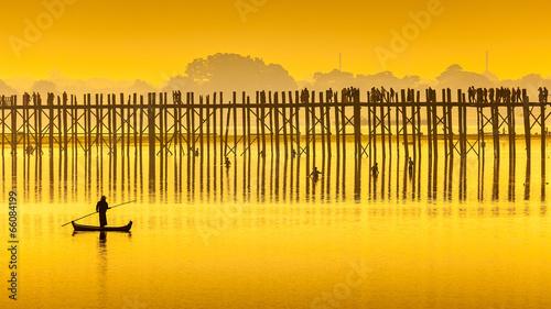 Sunset in U Bein bridge, Myanmar Fototapete