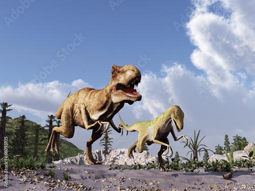 Fényképezés  tiranosaurio persiguiendo a un velociraptor