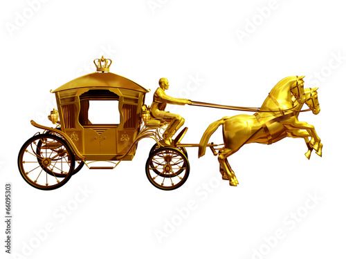 Valokuva  golden carriage with two horses side view