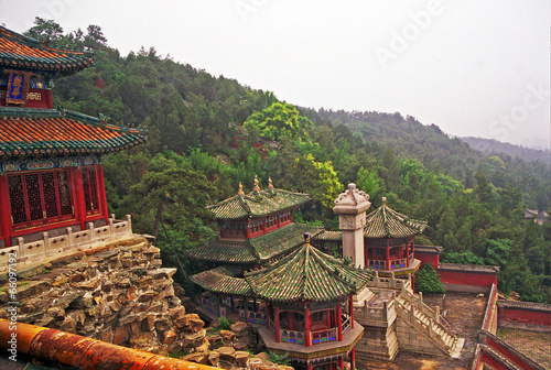 Fotobehang China ornamental, beautiful buildings at longevity hill in summer pala