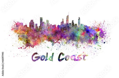 Fényképezés  Gold Coast skyline in watercolor