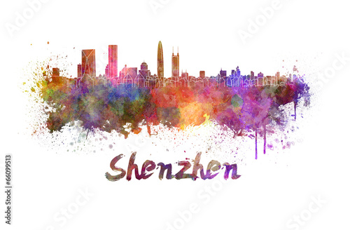 Foto op Canvas Barcelona Shenzhen skyline in watercolor