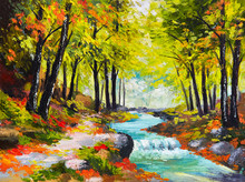 Oil Painting Landscape - River In Autumn Forest