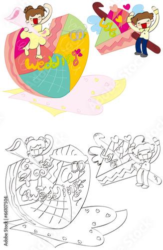 Fotobehang Cartoon draw Illustration of wedding