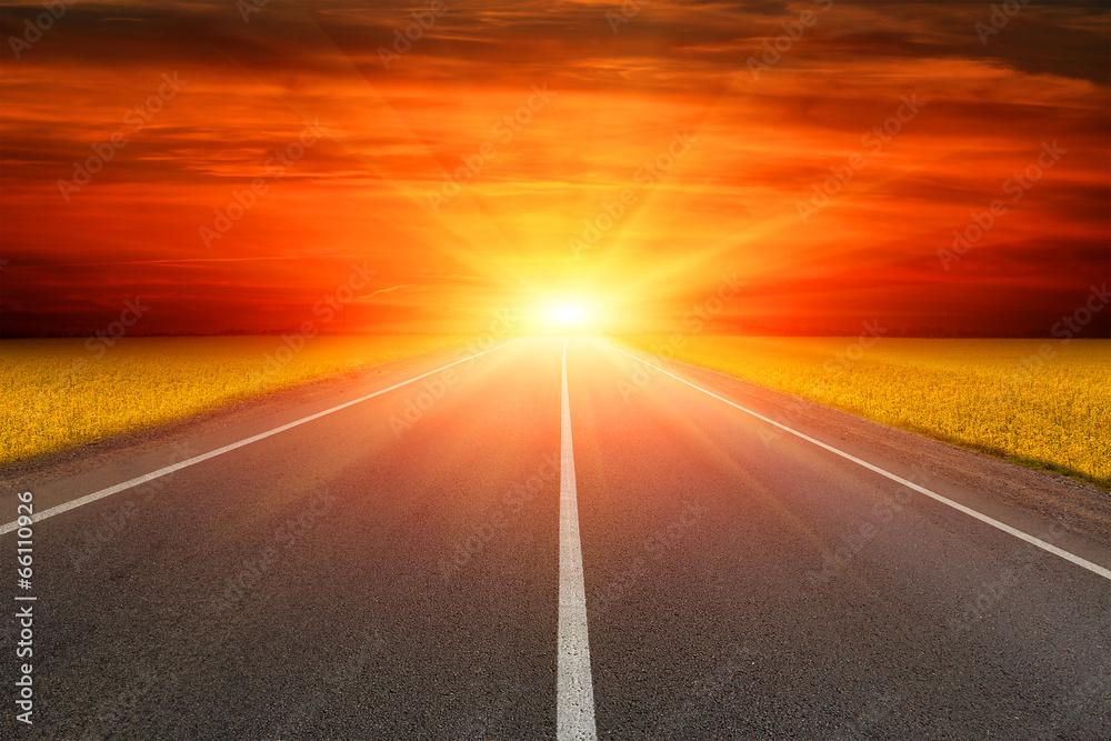 Fototapeta road to sunset