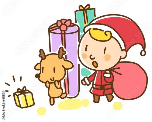 Foto op Canvas Honden Illustration of Christmas